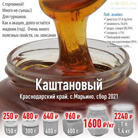 купить настоящий мёд с каштана недорого анализ